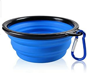 Mr. Peanut's Collapsible Silicone Bowl with Color Matched Carabiner Clip - Dishwasher Safe BPA Free Food Grade Silicone Portable Pet Bowls - Foldable for Journeys, Hiking, Kennels & Camping