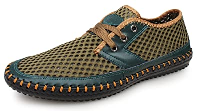 974dff06534c Kunsto Men s Mesh Walking Casual Water Shoes Lace Up US Size 8 Green