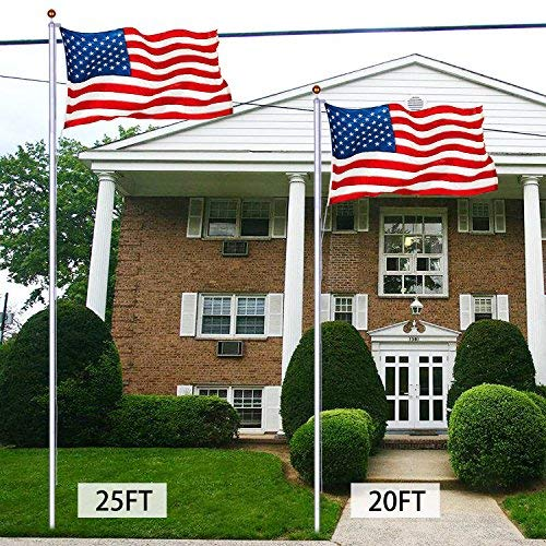CHARAVECTOR 25ft Sectional Flagpole Kit Set Silver Aluminum Halyard Flag Pole Free 3'x 5' US American Flag & Gold Ball Outdoor Garden ()