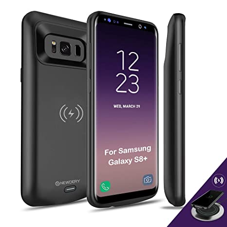 huge discount ad808 bd0ac NEWDERY Upgraded Samsung Galaxy S8 Plus Battery Case Qi Wireless Charging  Compatible, 5500mAh Slim Rechargeable Extended Charger Case Compatible ...