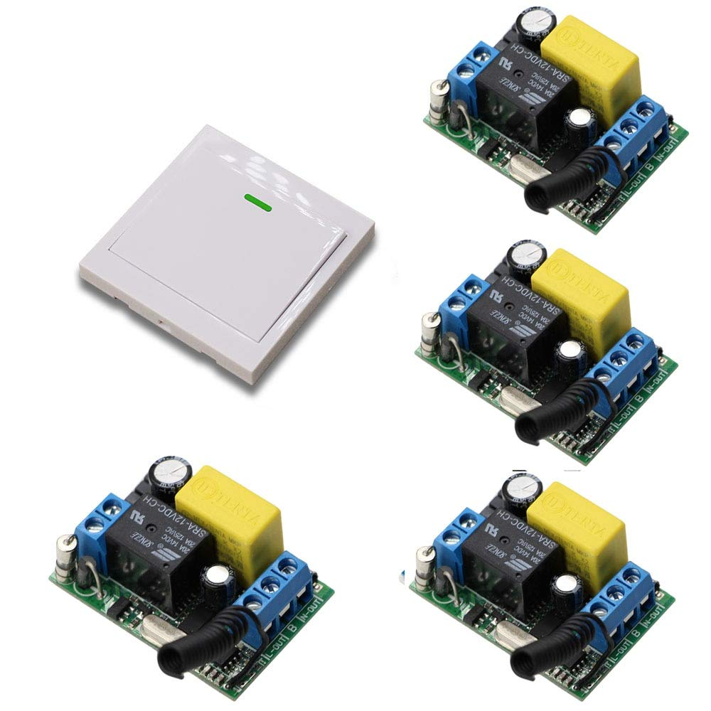 433mhz AC 220 V 1 CH High and Stable Wireless Relay Remote Control Switch 4pcs Receivers with White Wall Remote Controller Hot Sales  (color  433mhz)