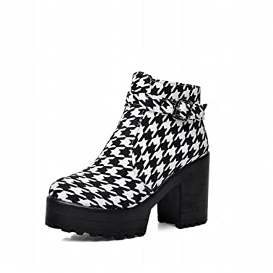 Fashion Women's Platform Houndstooth Pattern Casual Lace-up Chunky High Heel Ankle Boots