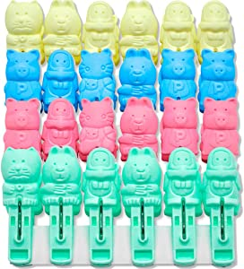 Foshine Clothespins 48pack Clothes Clips Cute Sturdy Cartoon cat Monkey Clothes pins Plastic Pegs Clothespin Laundry Windproof Clothespin Photo Paper Pegs Craft Clips Painting Display Pegs Kitchen