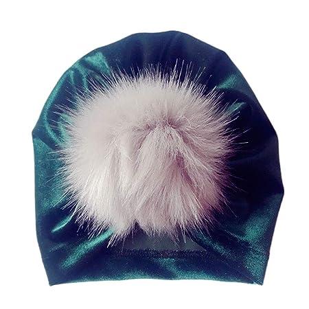 JERKKY Infant Baby Girls Winter Glitter Velvet Turban Hat Fluffy Pompom  Ball Ruched Pleated Beanie Cap bd148545f5eb