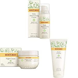 Burts Bees Daily Face Moisturizer for Sensitive Skin with Night Cream for Sensitive Skin and Face Cleanser for Sensitive Skin