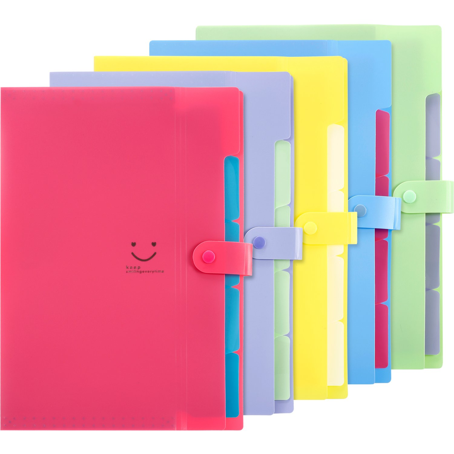Hestya 5 Pieces Expanding File Folders with 5 Pockets Plastic Organizer A4 Letter Size Multicolored for School and Office (Color 1)