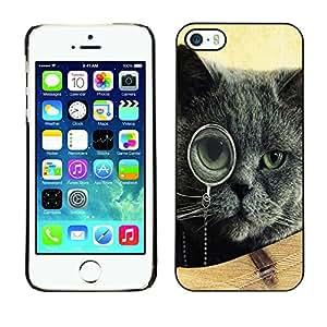 - Black Cat Kitty - - Monedero pared Design Premium cuero del tirš®n magnšŠtico delgado del caso de la cubierta pata de ca FOR Apple iPhone 5 5S Funny House