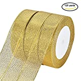 BENECREAT 125Yards (5 rolls X 25yd) 1-inch Wide Premium Glitter Metallic Sparkle Fabric Ribbon for Wedding, Holiday, Home Decoration, Gift Wrap (Gold)
