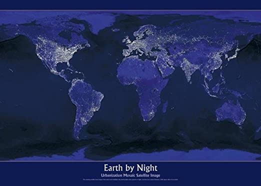 Wall Pops WPGD1635 Earth at Night Map Decal