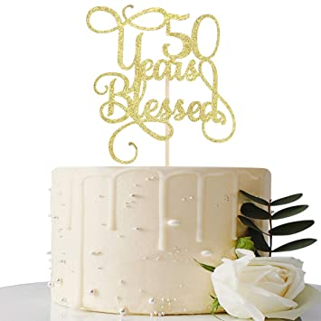 Decoración para tarta con purpurina dorada de 50 años para ...