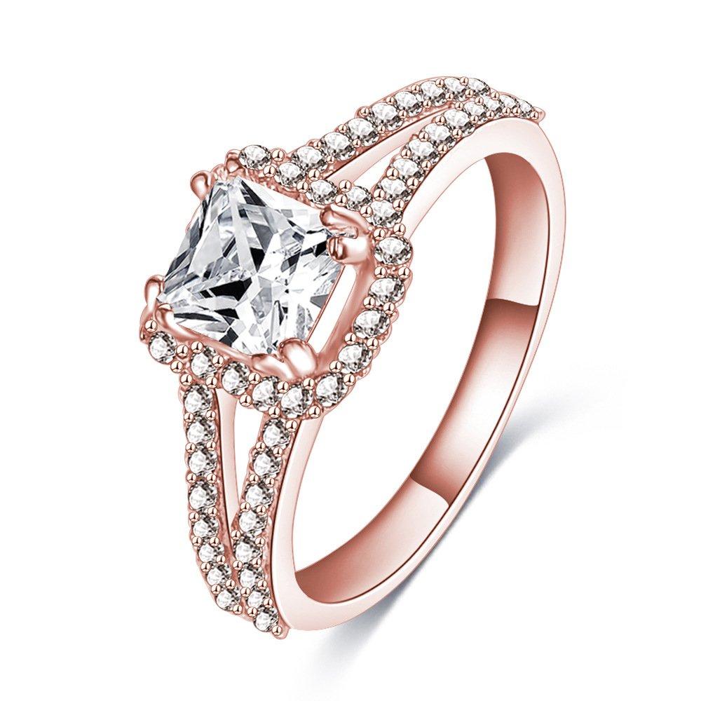 9b47d571d69ea Amazon.com: LuckyWeng 18K Rose Gold Princess Cushion Heart Arrows ...
