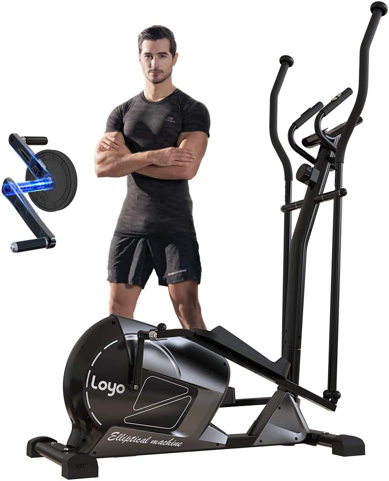 LOYO Magnetic Elliptical Machine for Home Use,Elliptical Training Machine with 8 Levels Adjustable Resistance LCD Monitor and Pulse Sensor .Heavy Duty 3pc Crank for Stronger Intensity and Durability.