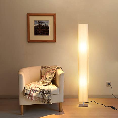 Albrillo E27 Lámpara de Pie Moderna con Tela Blanca de Tubo, La Base de Acero Inoxidable, 120cm de Lámpara de La Tela, Max. 40W Para Sala de Estar, ...