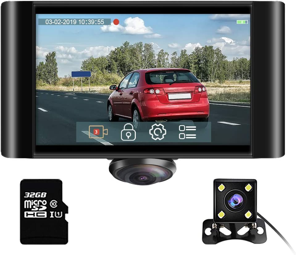 AKASO 360 Degree Dash Camera for Cars - 2K Full View Dual Dash Cam Front and Rear Car DVR Dashboard Recorder with 5 Inch Touch Screen G-Sensor Parking Monitor Loop Recording 32GB Card Included (P4)