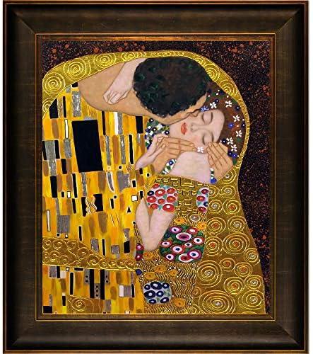 La Pastiche KLG841-FR-939320X24 Framed Oil Painting The Kiss Metallic Embellished by Gustav Klimt with Veine D Or Bronze Scoop Frame