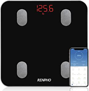 Bluetooth Body Fat Scale, RENPHO Smart Digital Bathroom Weighing Scales Body Composition Monitors with Smartphone App for Weight Body Fat BMI BMR Water Protein 13 Measurements