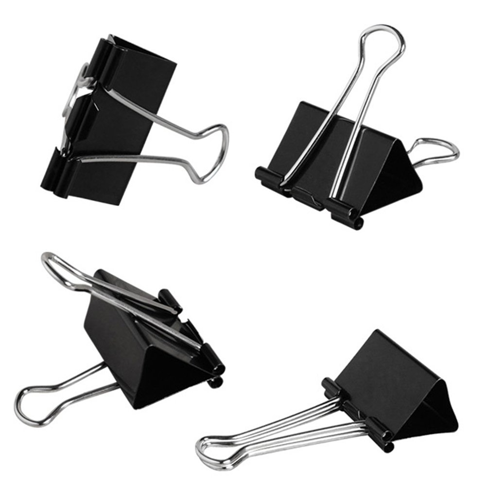 SHiZAK 30Pcs 51mm(2inch) Black Binder Clips, Large Metal Office Paper Clamps for Office/School Supplies, Closing Plastic Bags, Securing Documents etc.