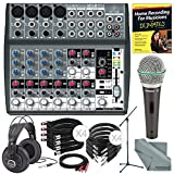 Behringer XENYX 1202FX 12 Channel Audio Mixer w/ Effects Processor and Deluxe Bundle w/ Samson Q6 Mic & Stand + Studio-Reference Headphones + Cables + More