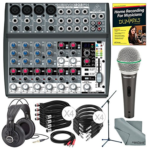 Behringer XENYX 1202FX 12 Channel Audio Mixer w/ Effects Processor and Deluxe Bundle w/ Samson Q6 Mic & Stand + Studio-Reference Headphones + Cables + More Studio Effects Processor