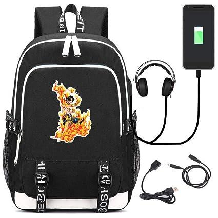 JJJDD One Piece AES Mochila Escolar Cargador USB Bolsa de ...