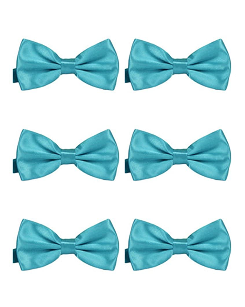 MENDENG Mens 6 Pack Satin Bow Tie Adjustable Formal Tuxedo Solid Color Bow Tie