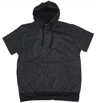 201fc945f Men's Fitted Short Sleeve Pullover Hoodie Hooded Sweatshirt urban Wear Grey  ( L - Large Mens