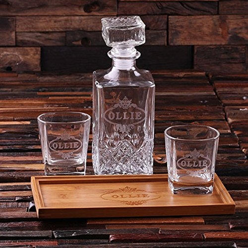 Personalized Bar Tray Set with Decanter and 2 Whiskey Glasses (Decanter Trays)