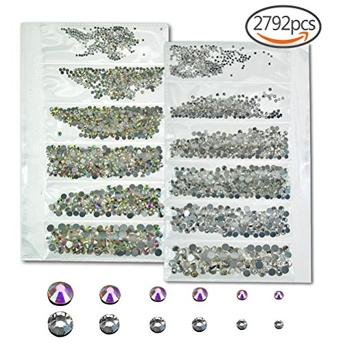 sticro 2792 Pieces Flatback Crystal AB & Clear Rhinestones 1.3mm-5mm Gems Nail Art Rhinestones for Nails Decorations Phone Case DIY Craft, 6Size Clear Ab Color