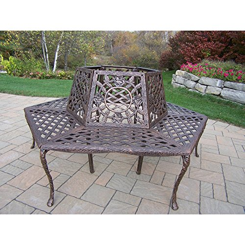 Aluminum Tree Bench - Oakland Living Corporation Tea Rose Cast Aluminum Tree Bench