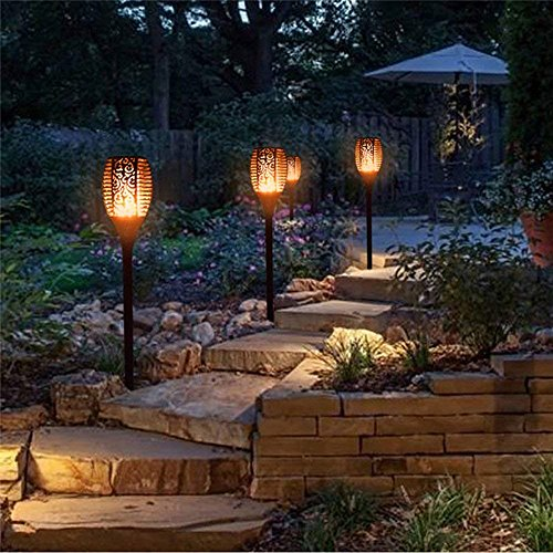 RONGT IP65 Waterproof Led Solar Torch Light, Flickering Dancing Flames Lights with 96 LED Chips, Solar Powered Decorative Garden Light for Garden Patio Deck Yard Driveway (six Pack) by RONGT (Image #5)