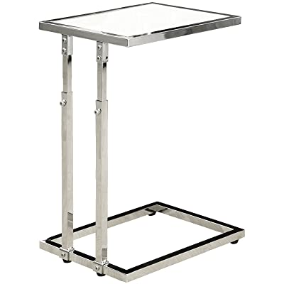 Monarch Specialties I 3012, Accent Table Adjustable, Chrome Base And  Tempered Glass, 26