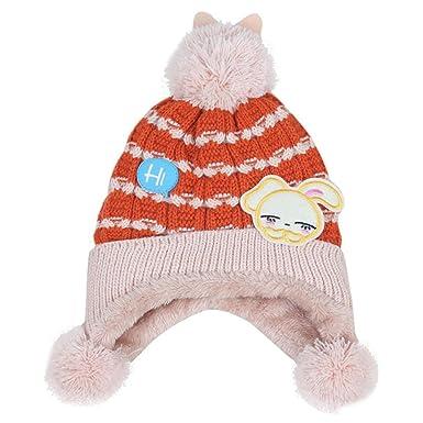 Chapeau Bébé Filles Garçons Automne Hiver Longra Enfants Beanie Chapeaux à  Tricoter Uni Chic Tricot Coton Bonnets Casquettes à pompons Doux Épais  Chaud Mode ... 45c0d9d741d