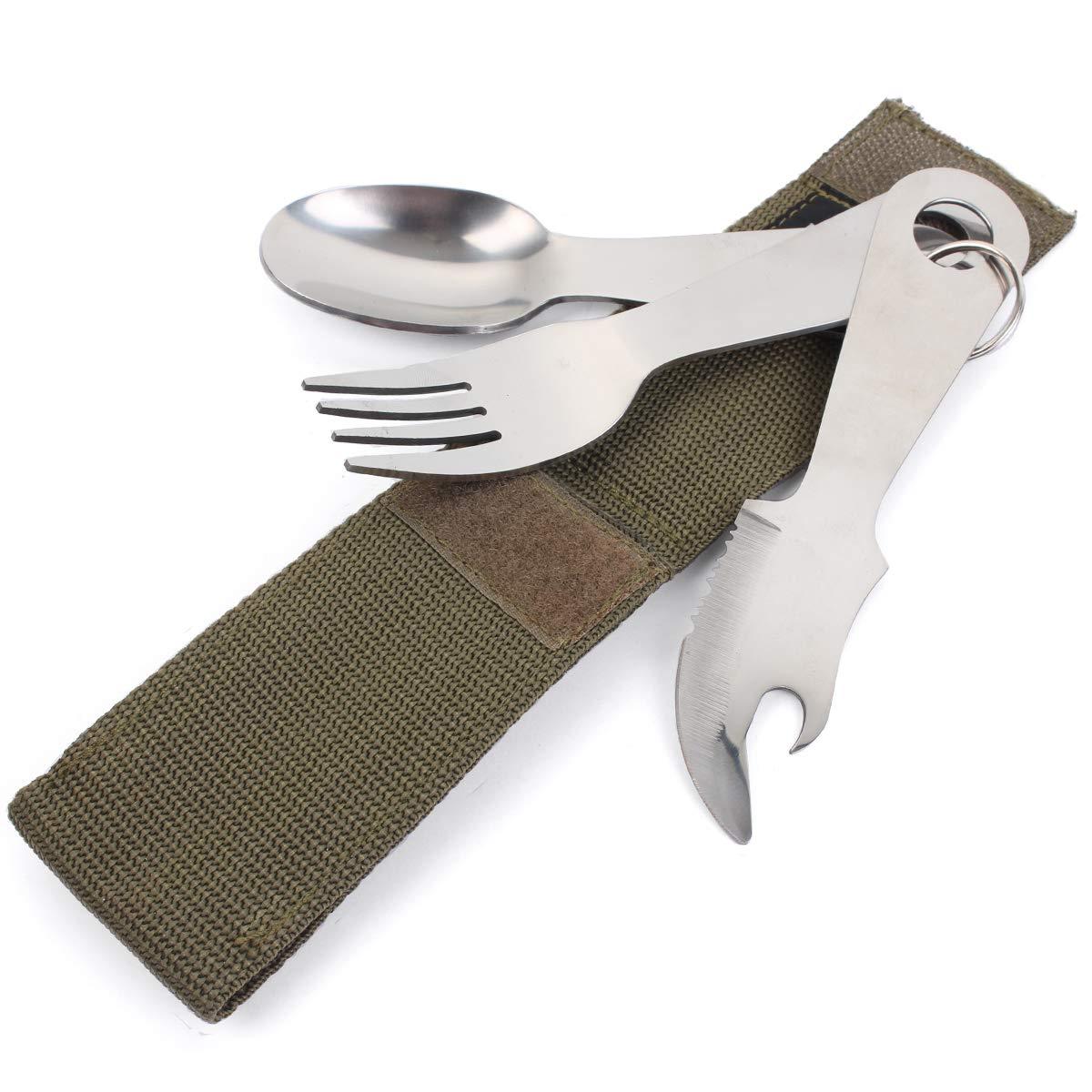 Mil-Tec Juego de cubiertos para acampada 14,5 cm, 170 g, acero inoxidable, incluye bolsa de 12 x 5 x 2,5 cm