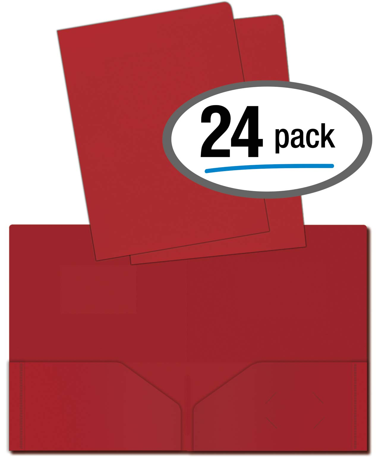 Heavyweight Plastic 2 Pocket Portfolio Folder, Letter Size Poly Folders by Better Office Products, 24 Pack (Red) by Better Office Products