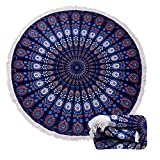 #4: (15 Patterns) Thick Terry Round Beach Towel/Round Beach Blanket/Round Beach Mat Roundie Tapestry/Round Yoga Mat with Fringe Tassels