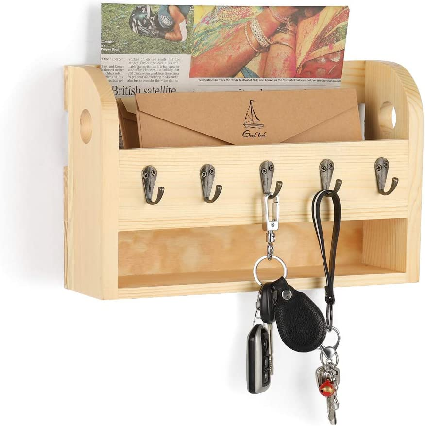 LIANTRAL Mail Sorter Wall Mount Mail & Key Holder Organizer with Storage Shelf and Key Hooks