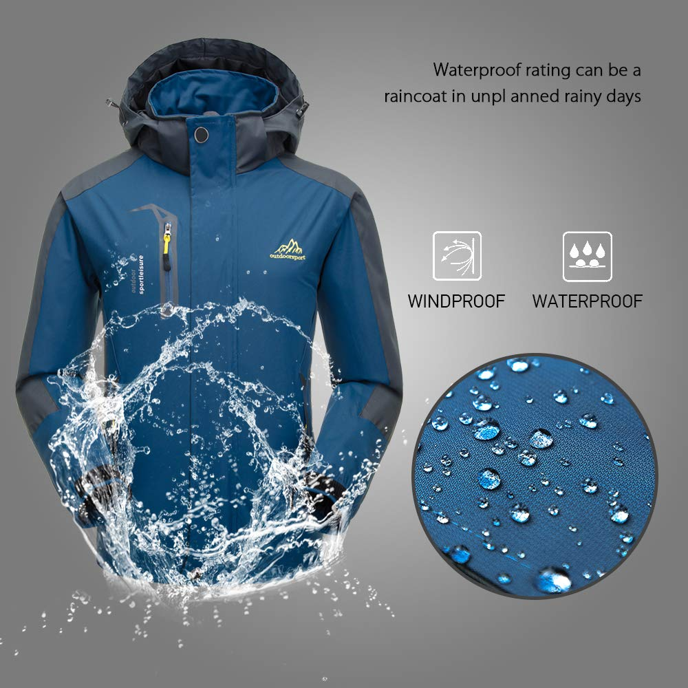 1ebb4b56c0d Amazon.com   Lixada Waterproof Jacket Windproof Jacket Outdoor Hiking  Traveling Cycling Sports Detachable Hooded Raincoats for Men Women   Sports    Outdoors