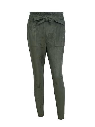 Simplee Apparel Damen Hosen Elegant High Waist Stretch Skinny Suede Hosen  Pants mit Tunnelzug  Amazon.de  Bekleidung b9b0d860a3