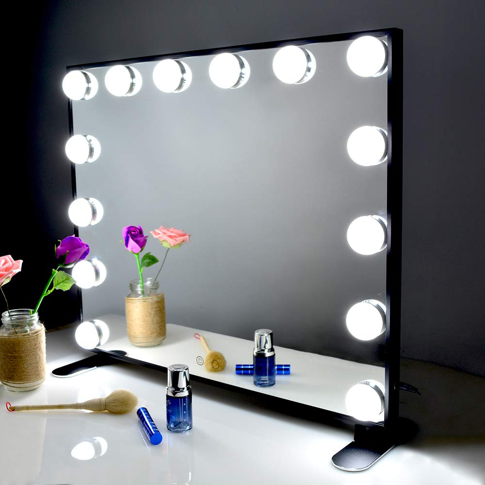 BEAUTME/Hollywood/Vanity/Mirror/with/Light,Table top/Wall Mouted Cosmetic Makeup Mirror With Dimmer LED Bulbs Touch Control Square Make-up Beauty Mirror(Black)