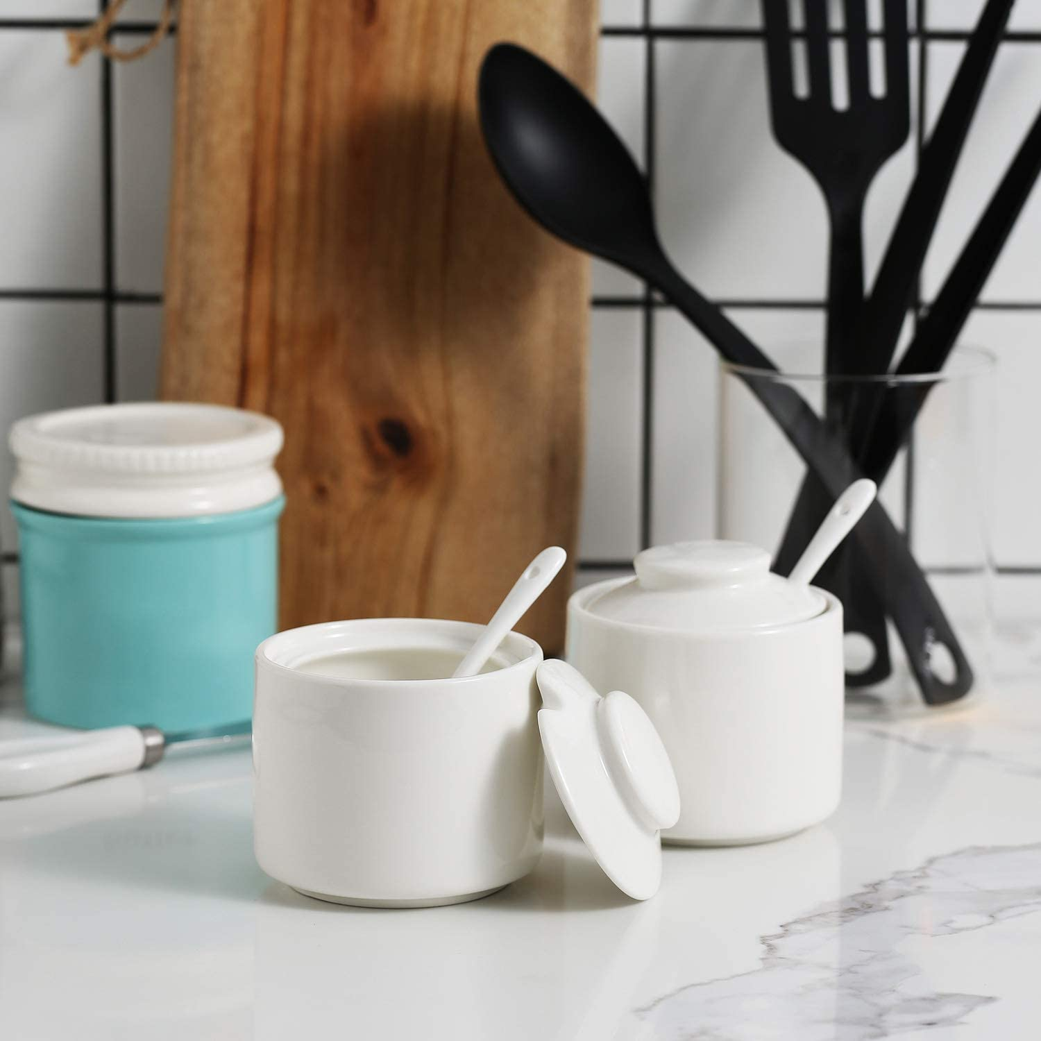 Sugar Bowl with Lid,White ONTUBE Porcelain Sugar and Creamer Set of 3,Cream Pitcher Spoon