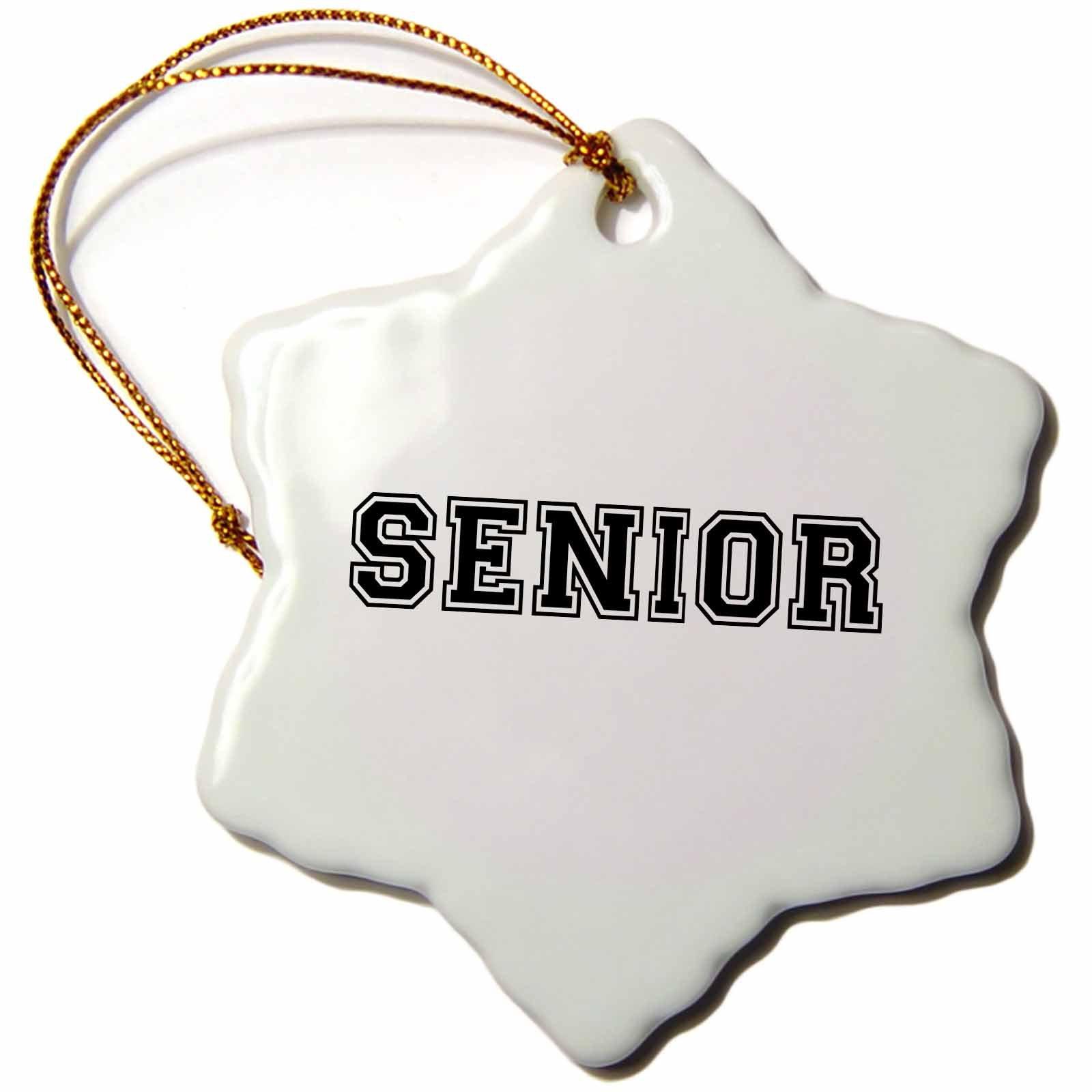 3dRose InspirationzStore Typography - Senior - high school or college or university school year souvenir - or Sr nickname - retro preppy - 3 inch Snowflake Porcelain Ornament (orn_151251_1)