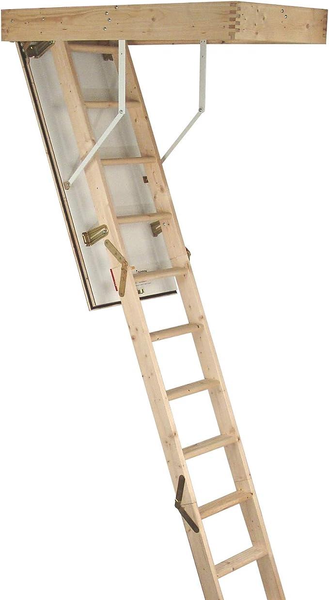 Kit de escalera plegable de madera de 3 secciones – Escotilla y marco de puerta – 2,8 m de altura máxima del suelo al techo – 550 mm oscilación 12 escaleras de acceso al ático: Amazon.es: Hogar