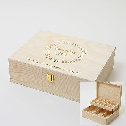 Voladizo Caja De Almacenamiento De Caja De Costura De Madera, personalizado grabado con un nombre