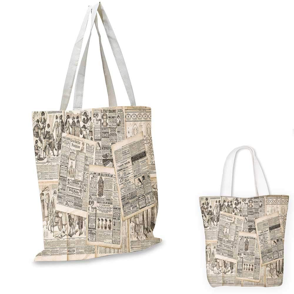 Old Newspaper Decor canvas messenger bag Grunge Pattern with Bird Cages Keys Heart Shapes and Flower fruit shopping bag Black Cream Baby Blue 14x16-11