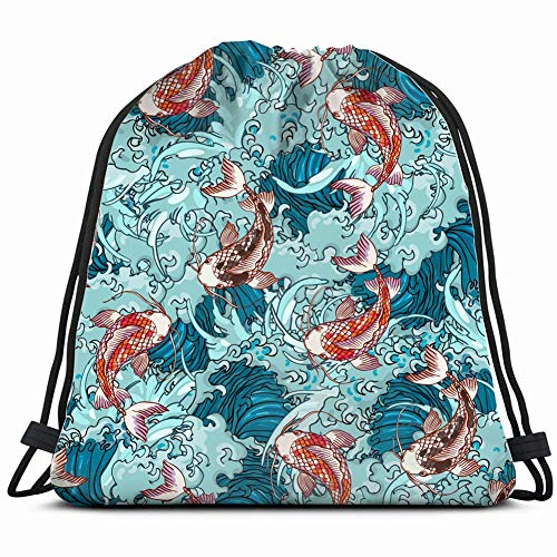 realistic detailed hand drawn animals wildlife japan the arts Drawstring Backpack Gym Sack Lightweight Bag Water Resistant Gym Backpack for Women&Men for Sports,Travelling,Hiking,Camping,Shopping Yoga