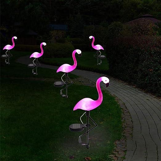 DMH Flamingo Luces solares, flamencos Rosas solares Decoraciones de jardín flamencos al Aire Libre Novedad iluminación, Impermeable Muy simulado Flamenco césped lámpara,5PCS: Amazon.es: Hogar