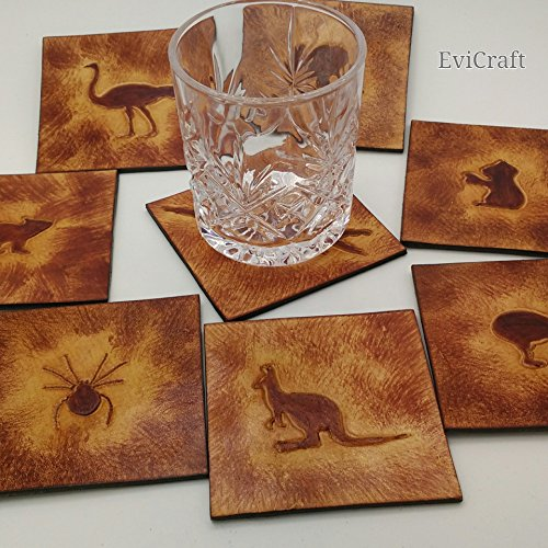 Australian animals leather Mug Coaster, home decor, gift, wombat kangaroo emu spider dingo dog echidna kiwi bird crocodile tasmanian devil