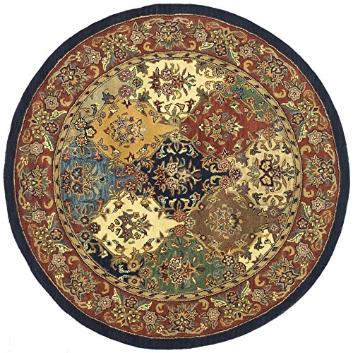 India House Burgundy Rectangle Rug - Safavieh Heritage Collection HG911A Handcrafted Traditional Oriental Multi and Burgundy Wool Round Area Rug (6' Diameter)
