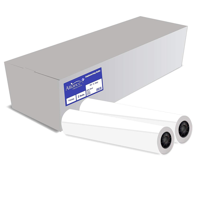 Alliance CAD Paper Rolls, 30'' x 300', 92 Bright, 20lb - 2 Rolls Per Carton - Ink Jet Bond Rolls with 2'' Core