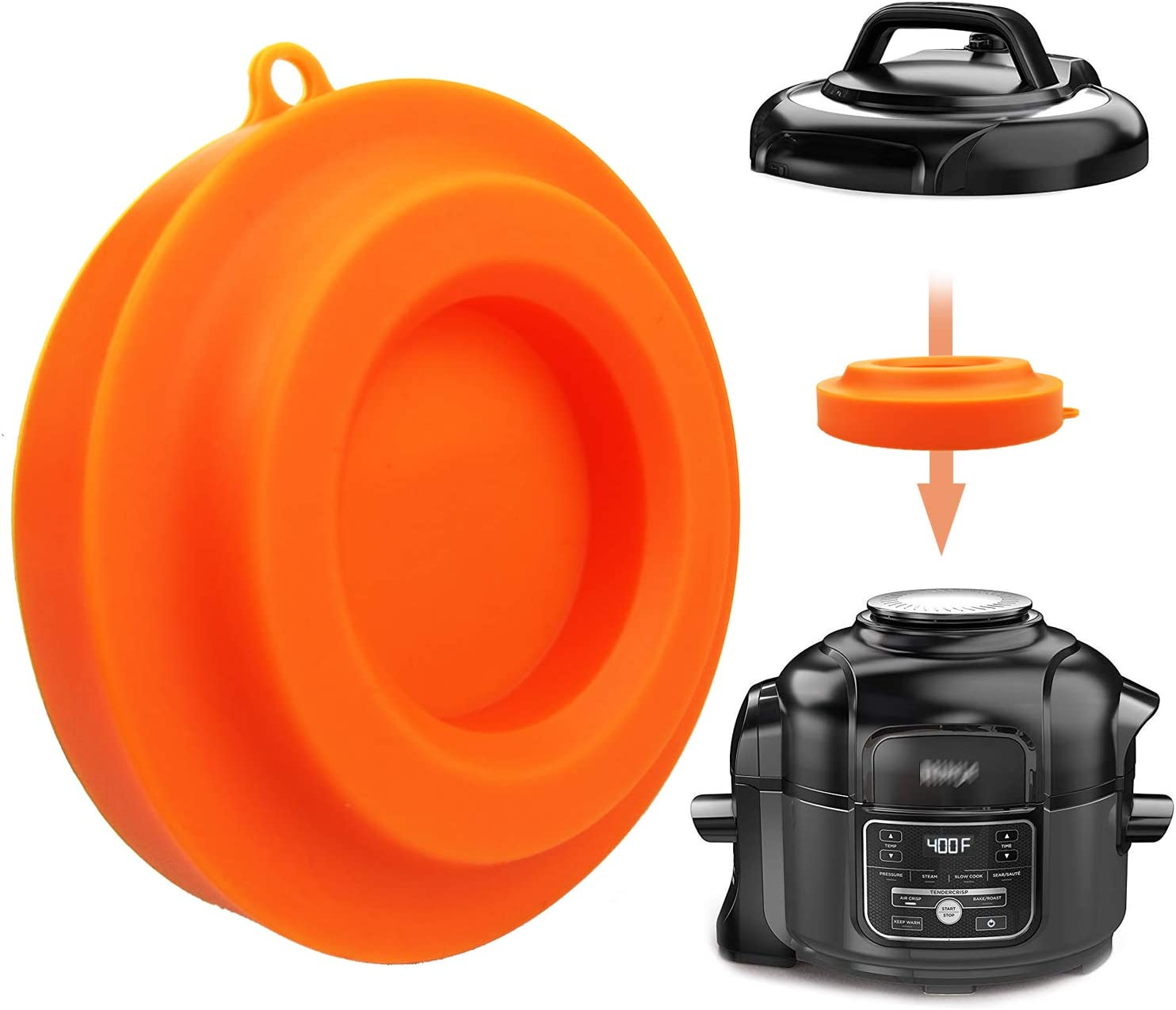 Silicone Lid Stand, Silicone Pressure Cooker Lid Holder Accessories For Ninja Foodi Pressure Cooker and Air Fryer 5 Qt, 6.5 Qt (Orange)
